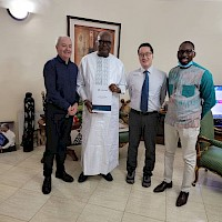 January 2021: Orezone's President & CEO, Patrick Downey, CFO, Peter Tam and General Manager of OBSA, Ousseni Derra with President of Burkina Faso, Roch Marc Christian Kaboré,